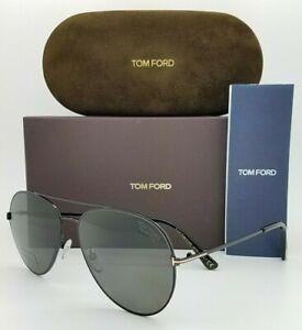 New Tom Ford Aviator sunglasses FT0636-K/S 01D 62 Black Grey Polarized GENUINE