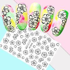 Nail Art Stickers Transfers 3D Self Adhesive Black & White Flowers (XF3025)