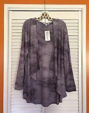 2X New Tie Dye Blue Purple Cardigan knit sweater top jacket hoodie 18/20/22