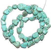 "NG2285 Blue-Green Turquoise Medium 10mm -16mm Nugget Magnesite Gemstone Bead 15"""