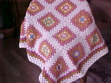 "NEW HAND CROCHET GRANNY SQUARES AFGHAN BLANKET 40""x 40"" OFF WHITE & TAN & MORE"