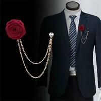 Tasssel Chain Suit Corsage Lapel Pin Shirt Jacket Collar Rose Flower Brooch