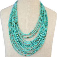 Fashion Seed Beads Necklace Multi Layer Bib Statement Chain Jewelry Chain Womens