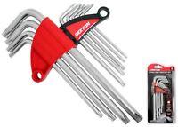 Dekton Long Star Torx Allen Key Security Wrench Set  T10 - T50 9 Pc Keys