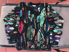 Coogi Sweater Medium Vintage Authentic Biggie Hip Hop Vaporwave Mosaic 90's
