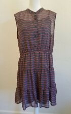 WOMENS UNBRANDED CASUAL SIZE XL GRAY RED SHEER DRESS ELASTIC WAIST
