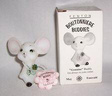 "Fenton Glass Boutonniere Buddies Mouse (NIB ""Genuine""-May-Emerald)"