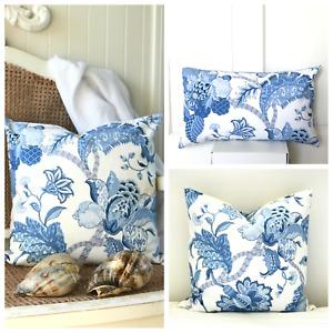 Hamptons Coastal Cushion Covers Blue and White Floral Jacobean Hampton