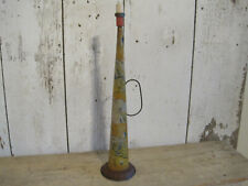 Vintage Primitive Childs Noise Maker Tin Horn with Handle USA Flags Boy Scouts