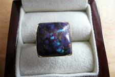 NATURAL CABOCHON PURPLE TURQUOISE 925 STERLING SILVER RING SZ Q 8.5 ADJ