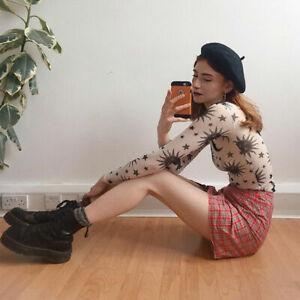 Women Sheer Mesh Fishnet Crop Top See Through Long Sleeve Stretchy Shirts Blouse