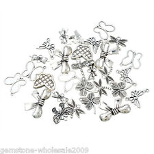 20PCS Wholesale W09  Mixed Silver Butterfly Leaf Pendants  Charm Jewelry