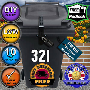 Wheelie Bin Lock with Free Numbers-LOWEST PRICE-Quickly Fitted & REMOVED MK2 KIT