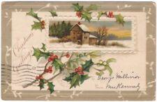 Christmas Greetings, Winter Rural Scene, Holly, Vintage 1907 Embossed Postcard