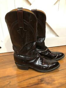 Lucchese Men 9 1/2 D Leather Oxblood Deep Burgundy Exotic Western Cowboy Boots