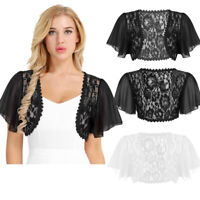Womens Short Sleeved Bolero Shrug Jacket Top Lace Cardigan Crop Tops Cocktail