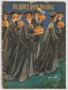 1905 Ladies Home Journal HALLOWEEN Harrison Fisher Colorful Jackolanterns Cover