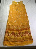 Mahudi Dress Kaftan MIDI Yellow Orange TriBal  Keyhole Back Necklace Attach Sz M