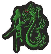 Patch écusson badge Dragon vert fond velours thermocollant brodé