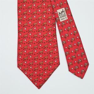 HERMES TIE 5511 UA Horse & Bird on Red Classic Silk Necktie