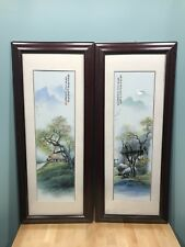 Pair of Asian Framed Painted Tiles - Landscape