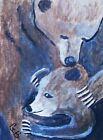 ACEO+ANIMAL+ART+PAINTING+%22MAMA+BEAR+AND+CUB%22+SIGNED+ORIGINAL