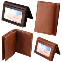 Men's RFID Blocking Top Grain Leather ID Window Secure Card Holder Slim Wallet