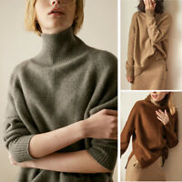 Women's Cashmere Loose Turtleneck Sweater Tops Warm Knitwear Pullover Jumper