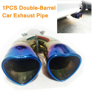 1PC Double-Barrel Car Exhaust Pipe Car Dual Exhaust Pipe Trim Tip Universal 63MM