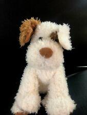 "Barnes & NOBLE Puppy Dog Terrier 12"" Plush White Brown Spot Corduroy Stuffed"