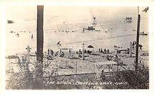 C45/ Chippewa Lake Ohio Postcard Real Photo RPPC Beach Crowd 30s Medina County 2