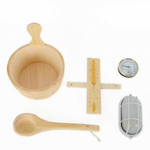Sauna Room Spa Accessory Kit 5pcs: Sauna Bucket with Spoon Hourglass Thermometer