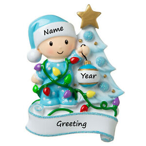 PERSONALIZED Baby's First Christmas, Blue Baby Boy PJs Decorating Tree Ornament