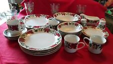 Poinsettia Holiday Serving for 8 New - 53 Pieces Set China Dinnerware by Gibson
