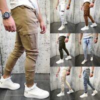 Jeans Pantalon de jogging pour homme Cargo Biker Slim Fit Chino de loisir Casual
