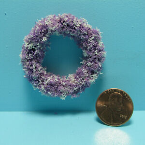 Dollhouse Miniature Handcrafted Purple and White Floral Wreath