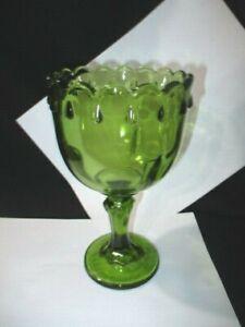 MID CENTURY INDIANA AVOCADO GREEN GLASS GOBLET SIZED  VASE TEARDROP