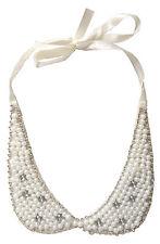 Kragen Schmuck Halsband Kollier Kristall Glas Statement Band Perle Weiss Weiß