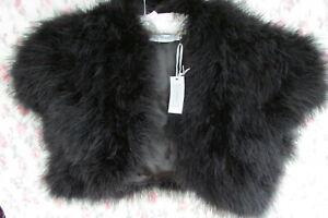 BNWT Black MARABOU FEATHER Fur Jacket Shrug Bolero 12/14 by John Lewis £95