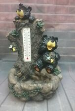 Resin Black Bears in Tree with Honey Hives Thermometer and Small Planter