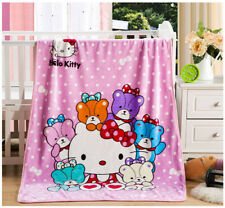 Kawai Hello Kitty Family Soft Plush Warm Flannel Blanket Bedding Throws Anime