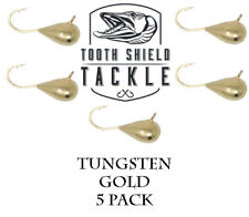 5 Pack Tungsten Ice Fishing Jigs Crappie Bluegill Perch 5mm (Gold)
