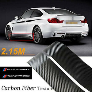 2x3D Carbon Fiber Texture Car Side Skirt Sticker Performance Graphic Vinyl Decal