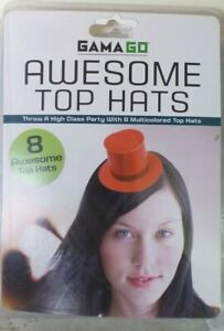 Gamago Awesome Party Top Hats Adjustable Elastic Bands Set Of 8