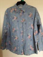 Vintage Cabin Creek Floral Print  Blue Shirt Size L 100% Cotton Long Sleeve