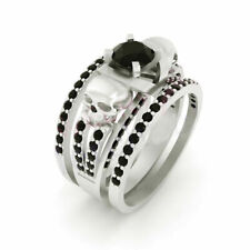 Band Engagement Ring in 925 Silver 1.55Ct Black Round Diamond Skull With Double