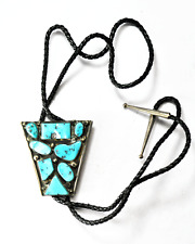 "Sterling Silver Triangular Bolo Tie Clip Turquoise Cluster 2-3/8"" x 2-3/8"""