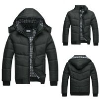 Men's Black Puffer Jacket Warm Overcoat Outwear Padded Hooded Down Winter Coat n
