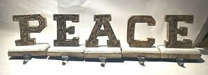 5 pc PEACE Letters Stocking Holders Marble Carved wood Christmas Mantle Hooks