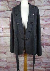 PER UNA Marks and Spencer Grey wool blend cardigan tie waist XL